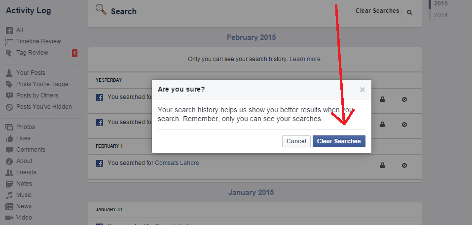How To Delete your Facebook Browsing Search History