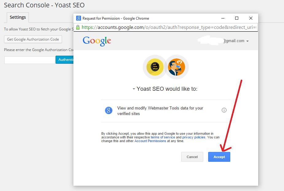google authorization code yoast