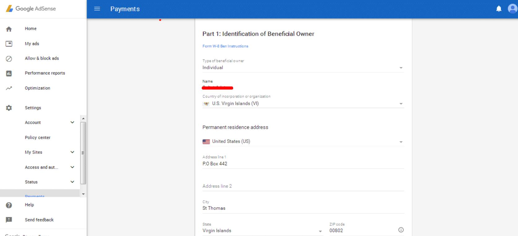Submit Google Adsense Tax Form
