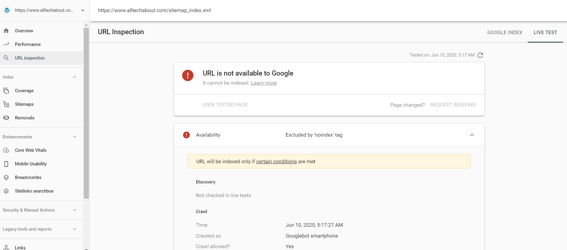 noindex tag in Search Console